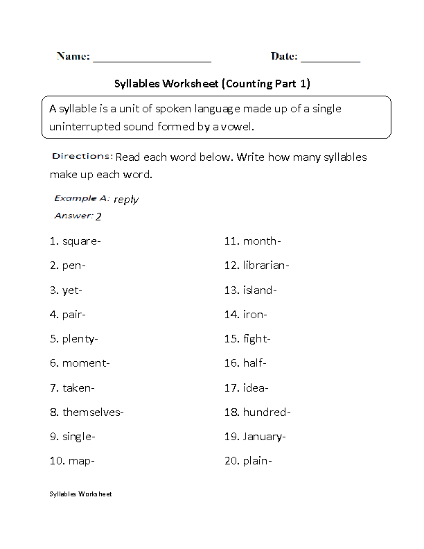 Syllables Worksheets | Counting Syllables Worksheet