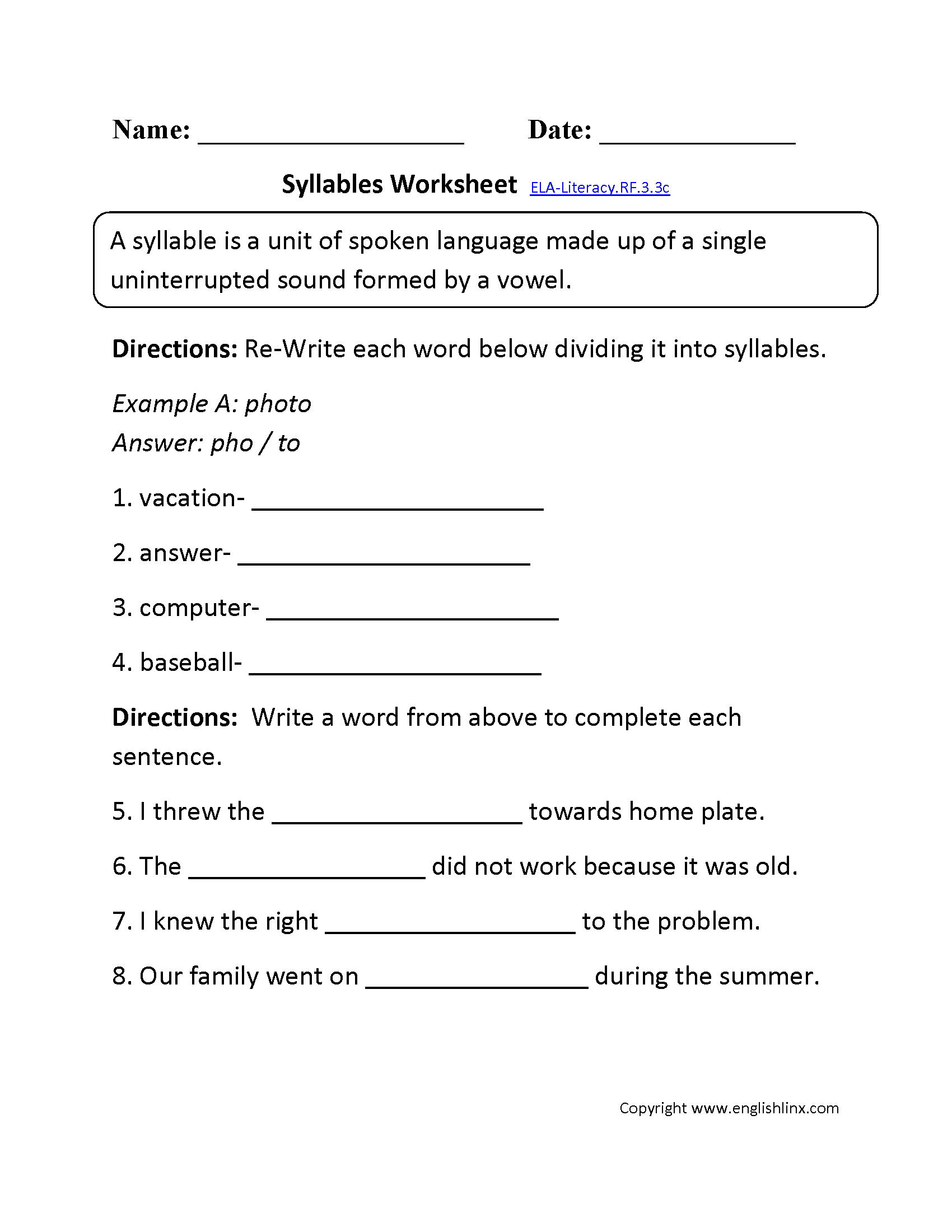 worksheet 3rd Grade Phonics Worksheets 3rd grade common core reading foundational skills worksheets syllables worksheet 2 ela literacy rf 3 3c skills