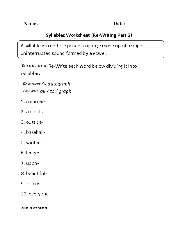 Re-Writing Syllables Worksheet Part 2