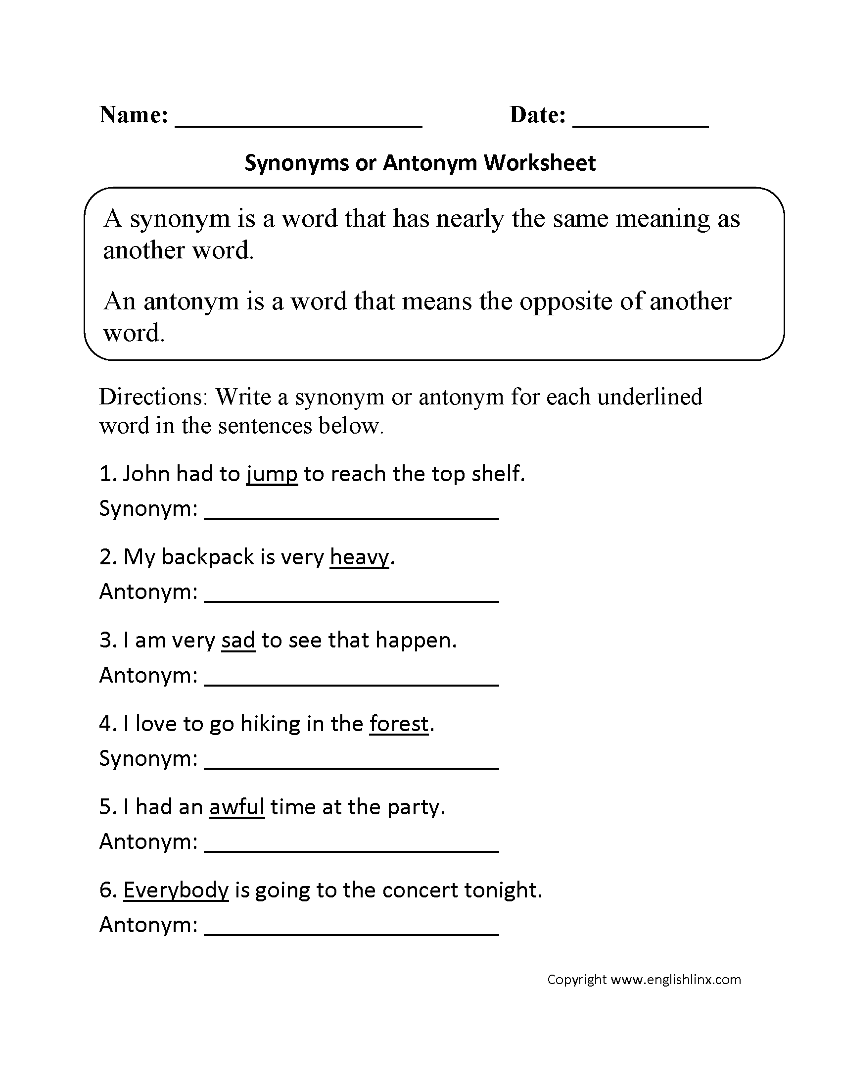 Synonym or Antonym Worksheet