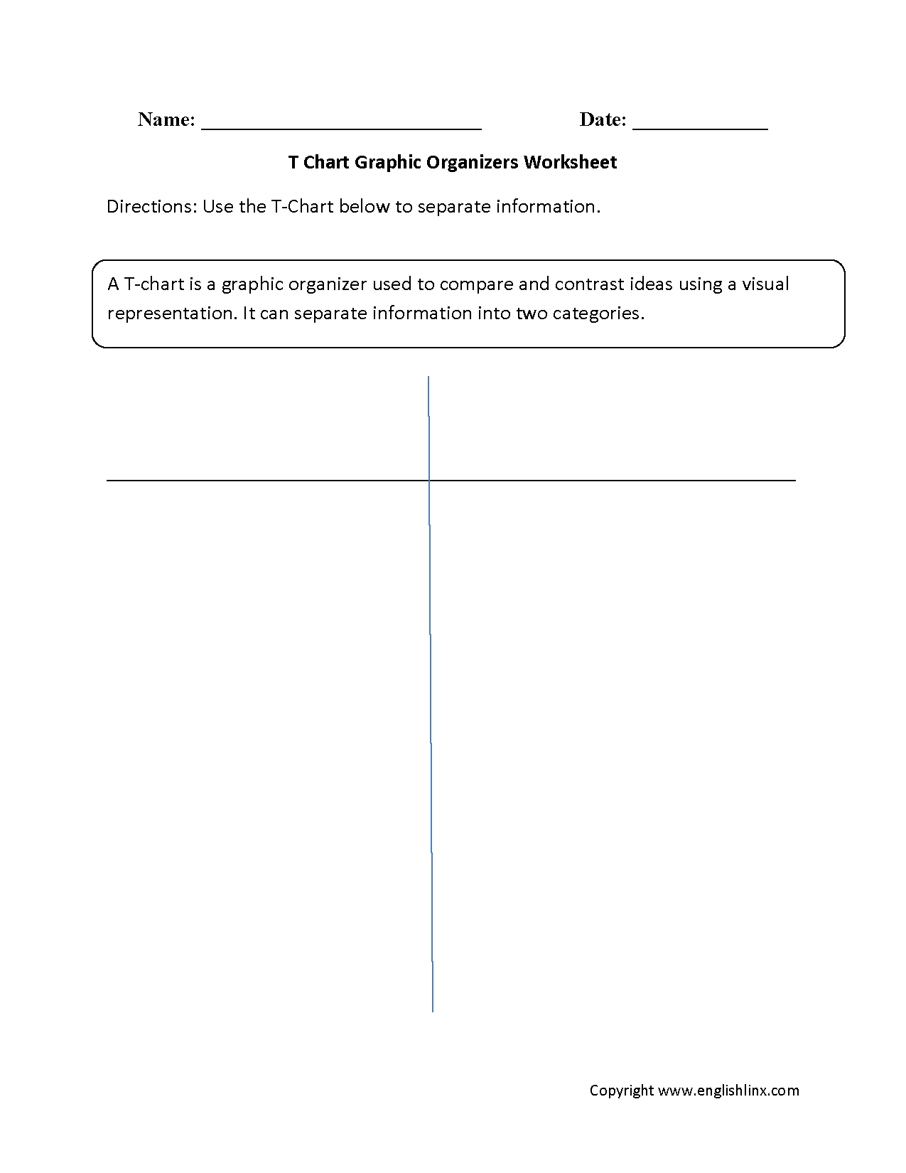 T Chart Graphic Organizers Worksheets