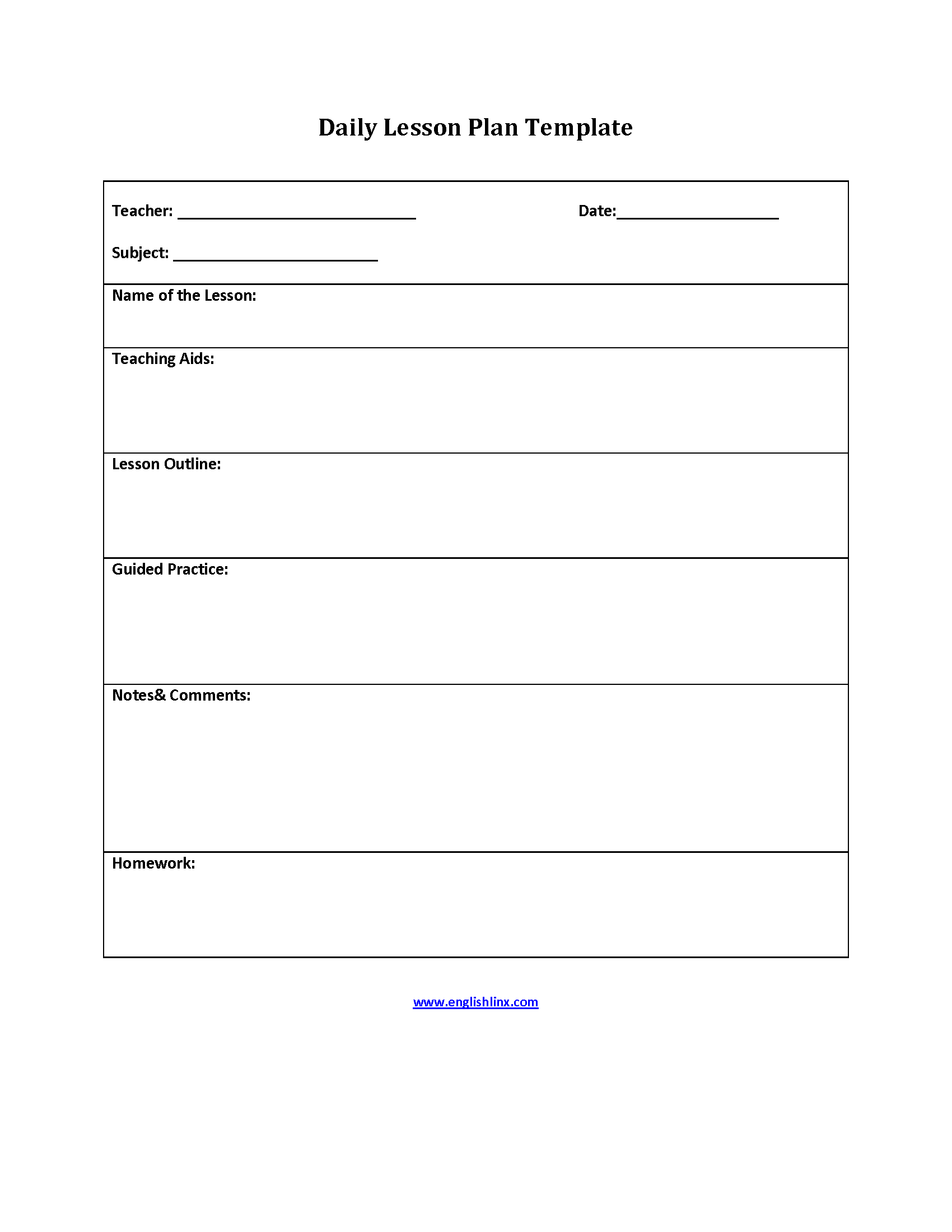 teachers lesson plan template
