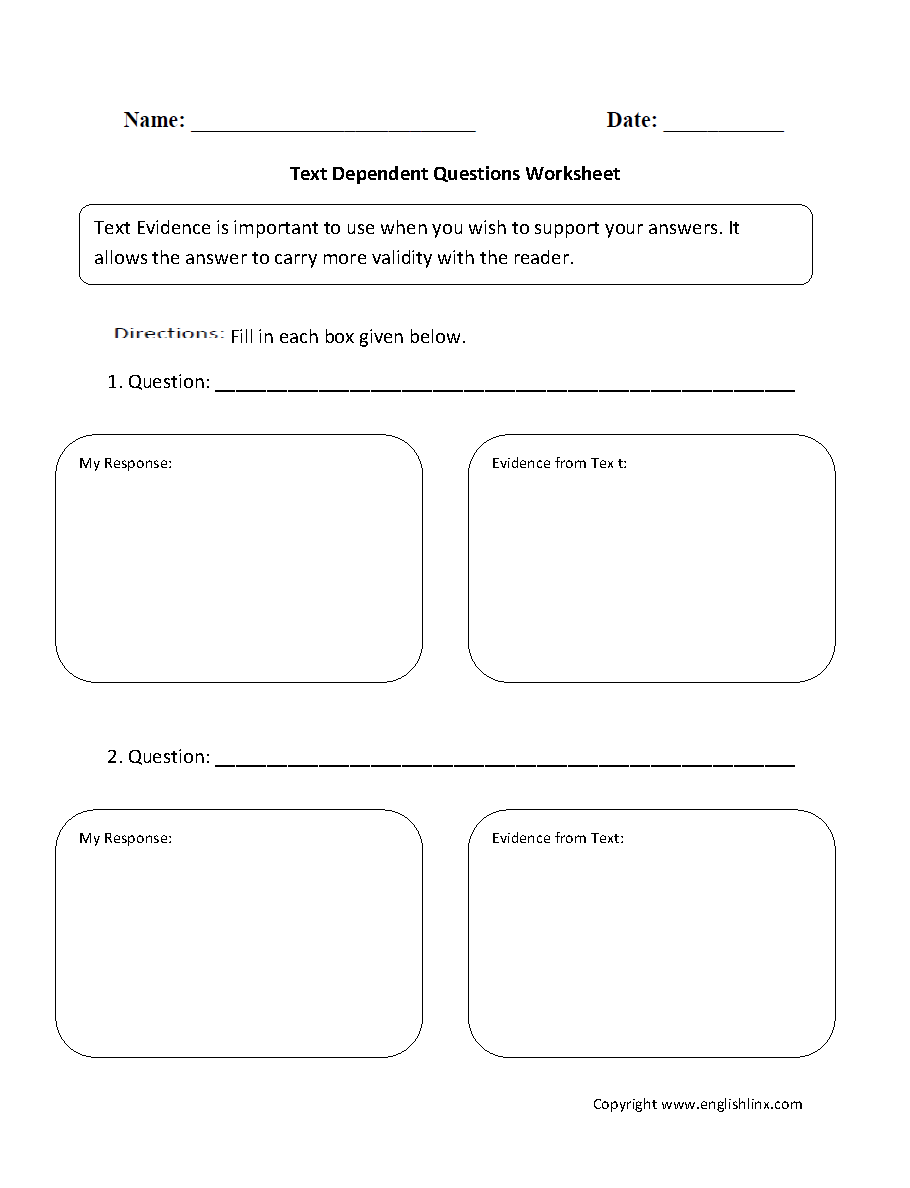 Text Evidence Worksheets | Text Dependent Questions Worksheet