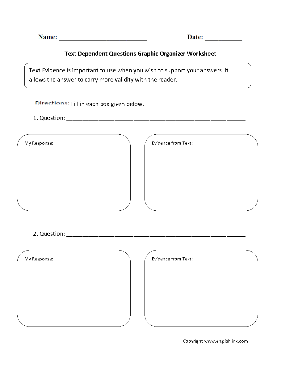 Text Dependent Questions Graphic Organizers Worksheet