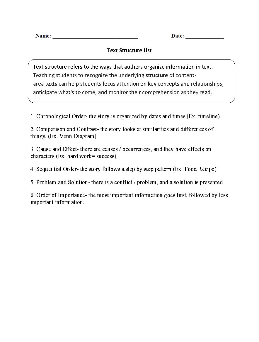 Worksheet Text Structure Worksheets 5th Grade englishlinx com text structure worksheets list worksheets