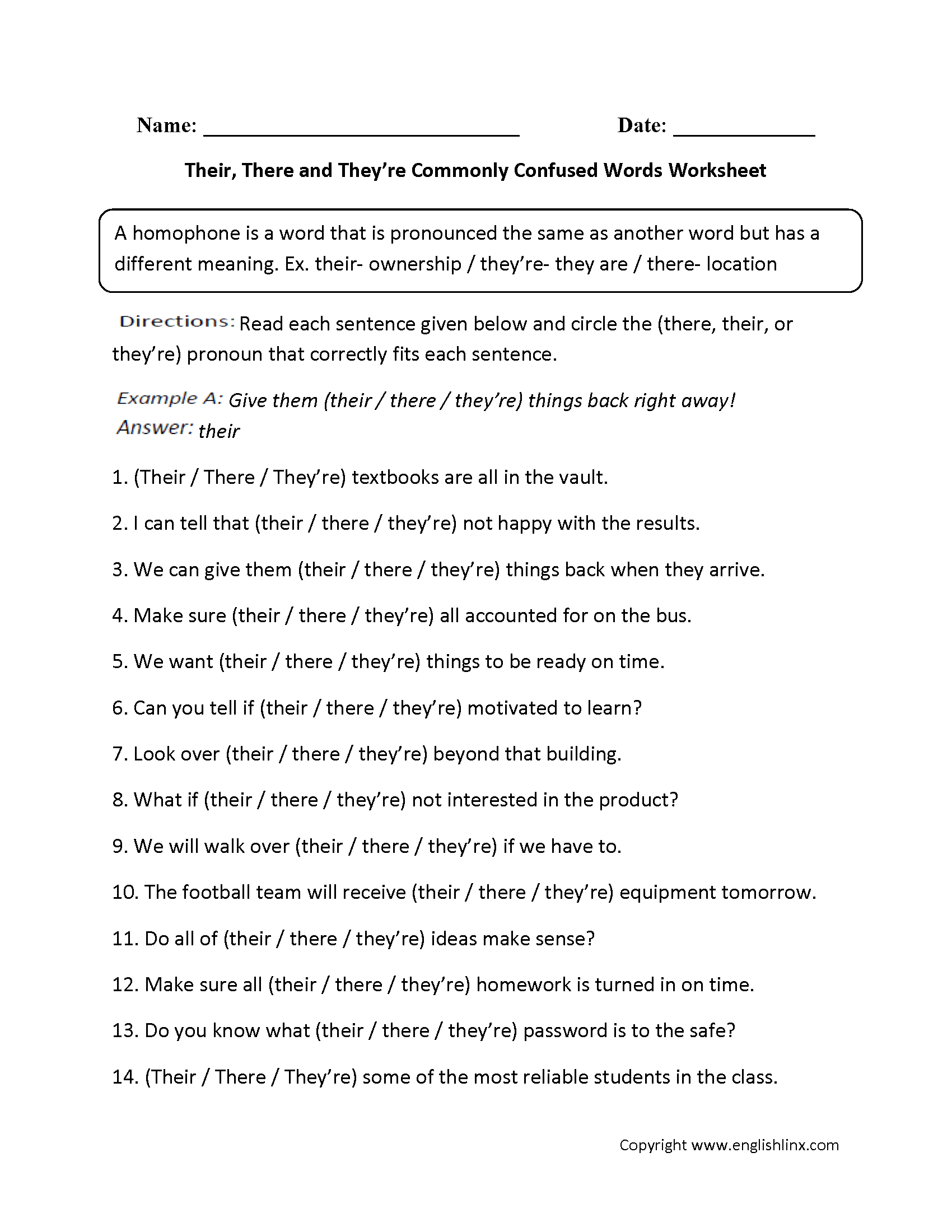Commonly Confused Words Worksheets | Their, There, They're ...