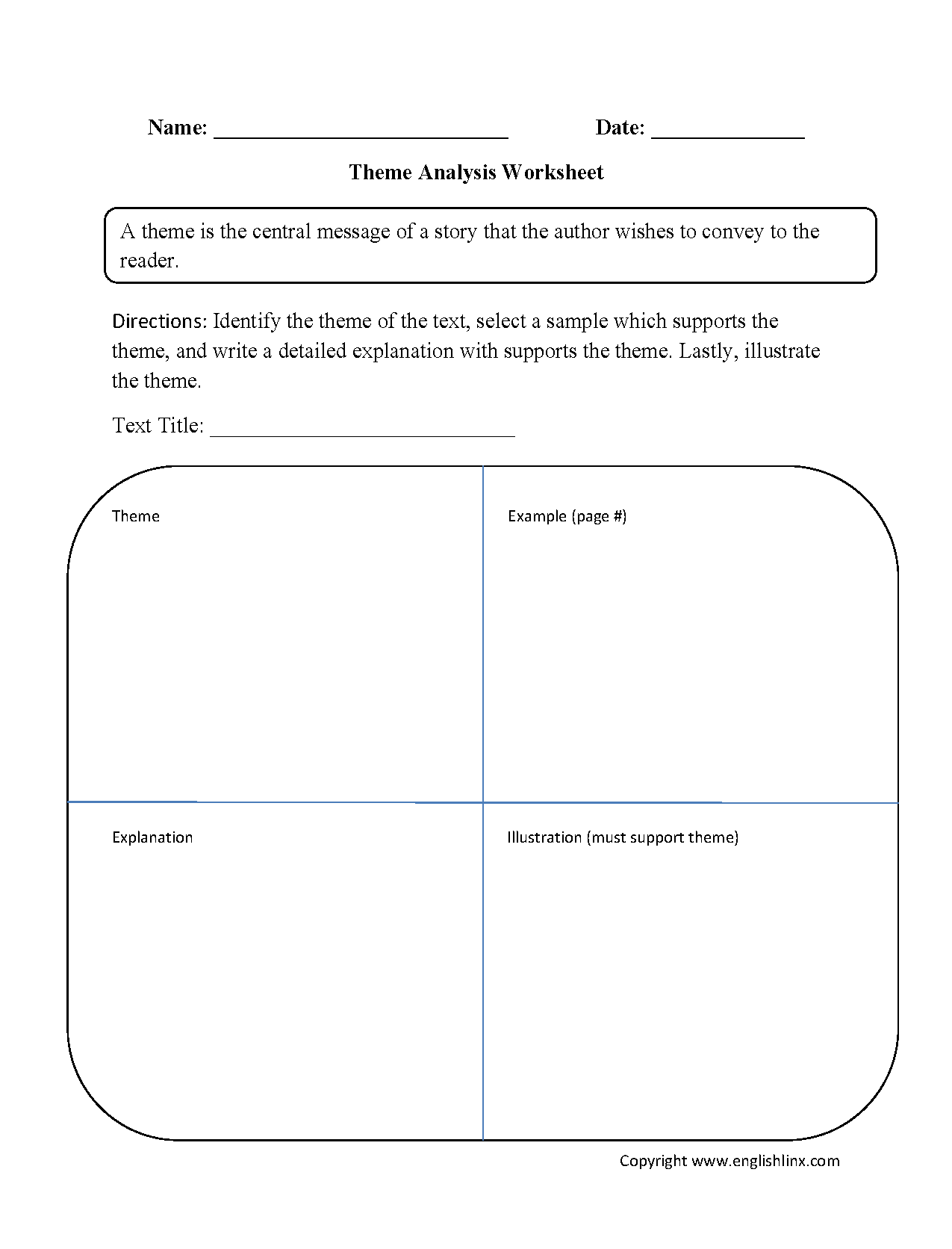 Worksheets Theme Worksheets 5th Grade englishlinx com theme worksheets
