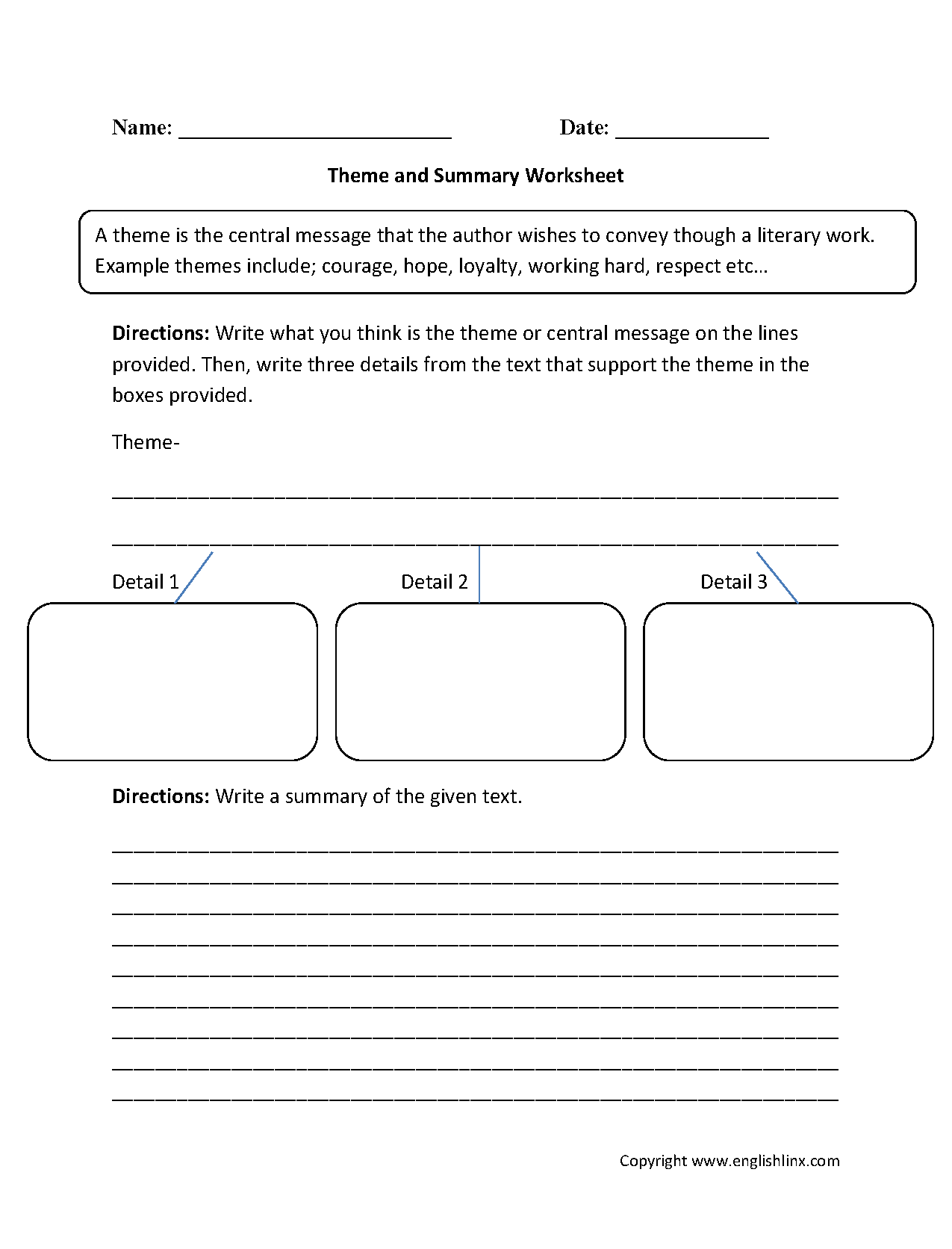 Theme And Summary Worksheets