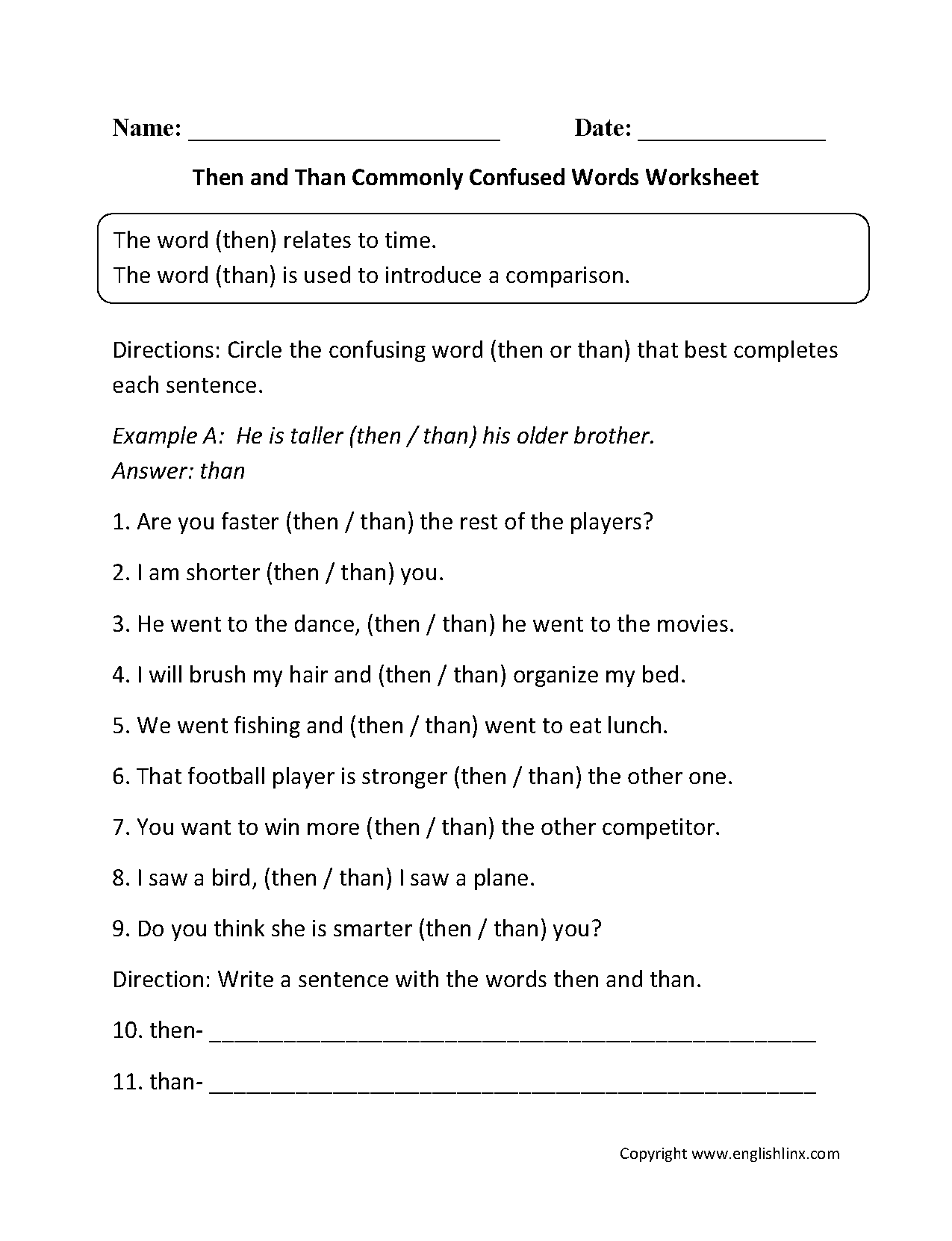 {Commonly Confused Words Worksheets – Then Than Worksheet