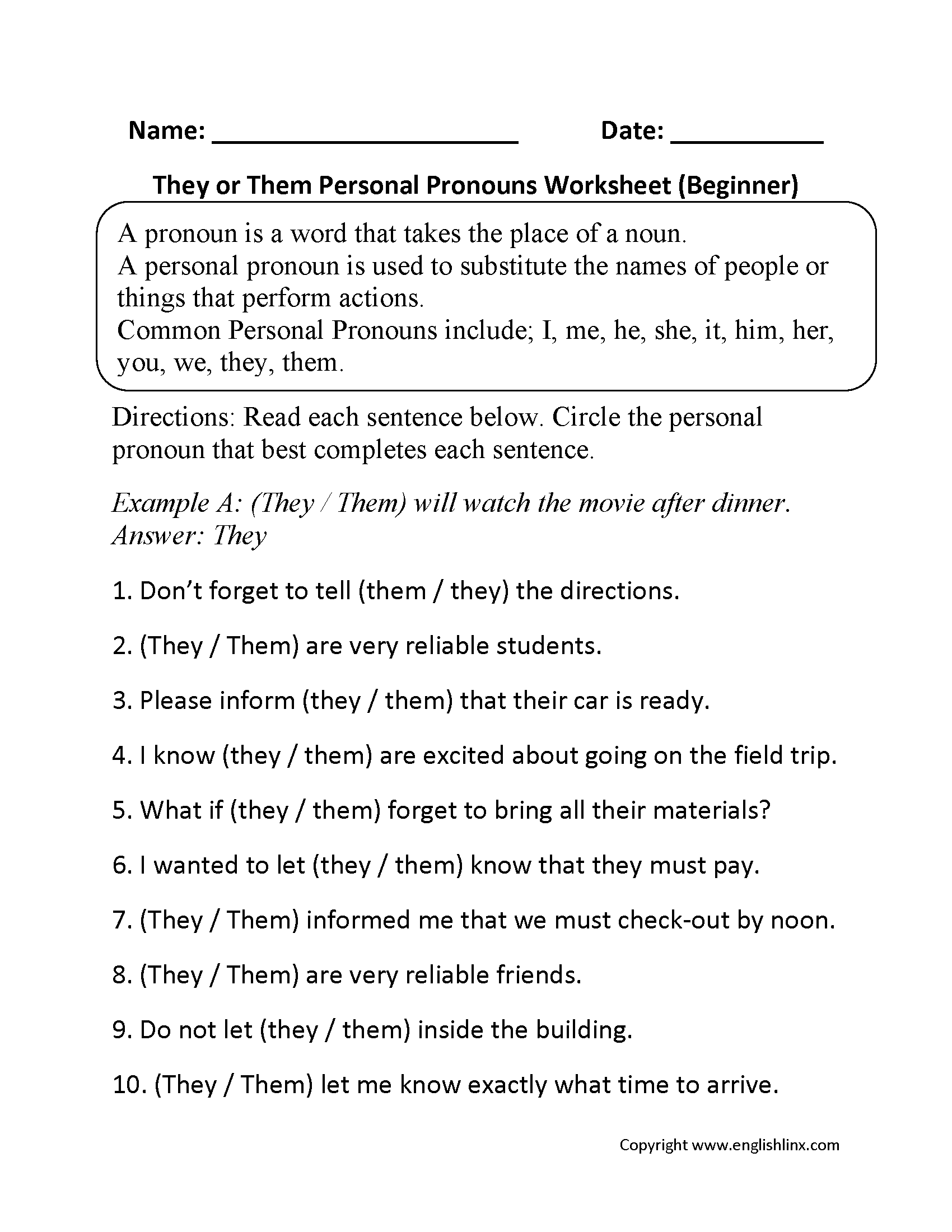 Pronouns Worksheets – Math Review Worksheets 6th Grade