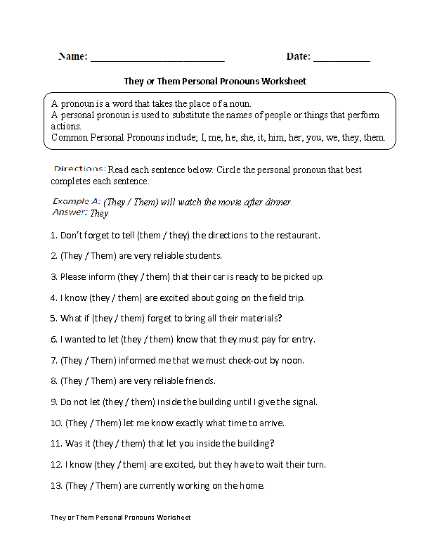 Regular Pronouns Worksheets : They or Them Personal ...