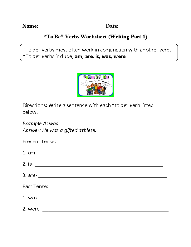 Was or Were To Be Verbs Worksheet