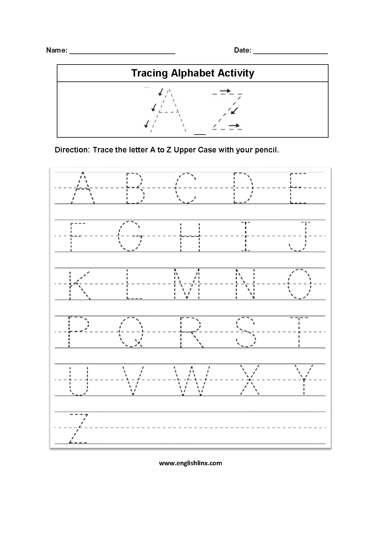 trace alphabet worksheets a z kidz activities. Black Bedroom Furniture Sets. Home Design Ideas
