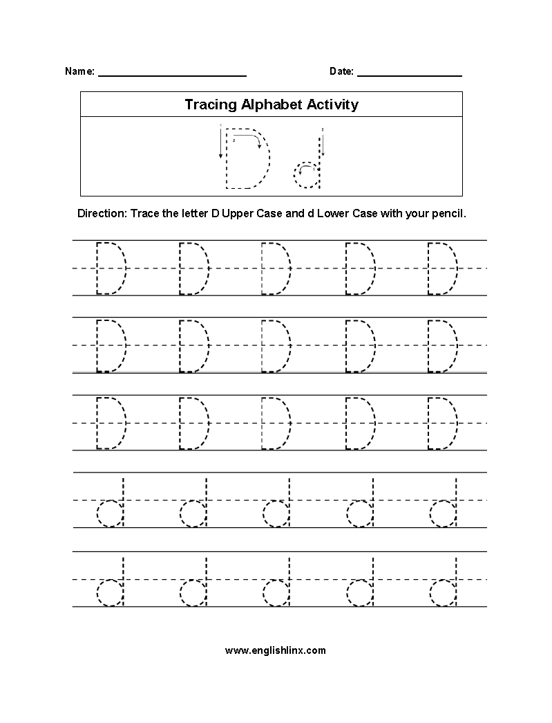 Amazing Letter D Tracing Alphabet Worksheets