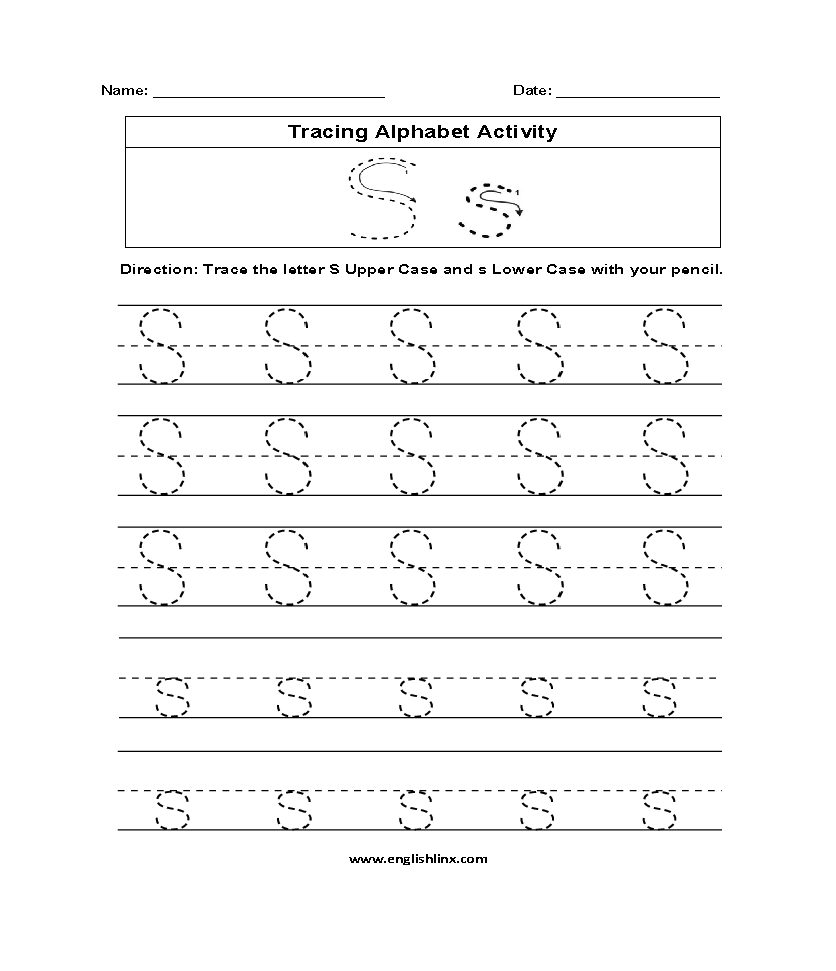 Letter S Tracing Alphabet Worksheets