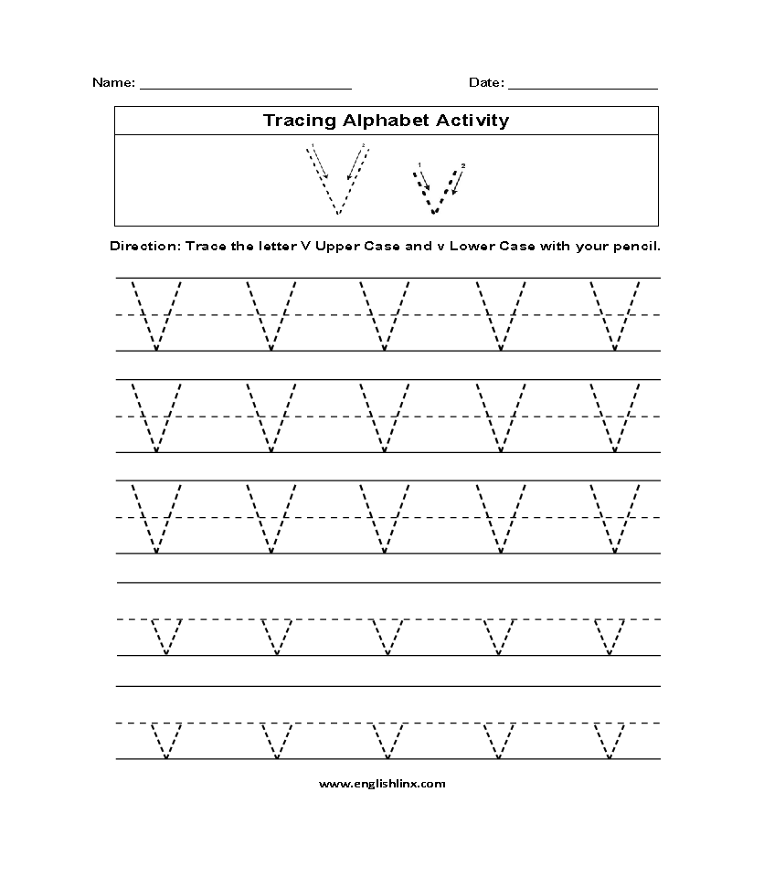 Letter V Tracing Alphabet Worksheets
