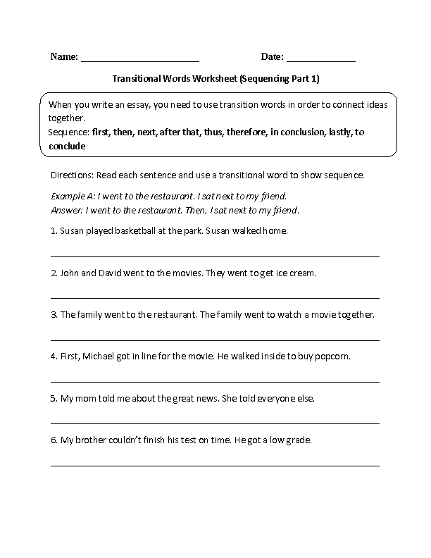Transitional Words Worksheets – Picture Sequencing Worksheets