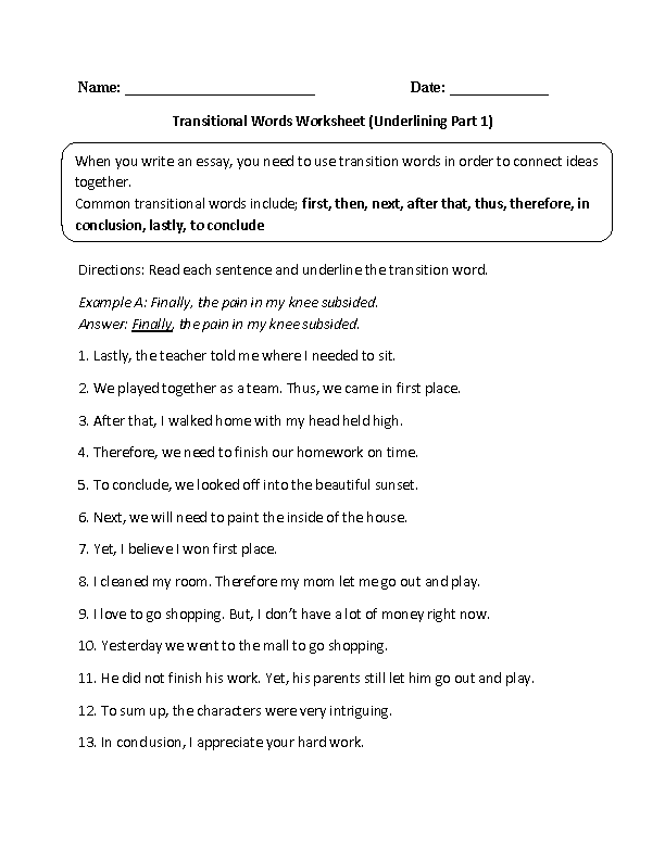 Transitional Words Worksheets | Underlining Transitional ...
