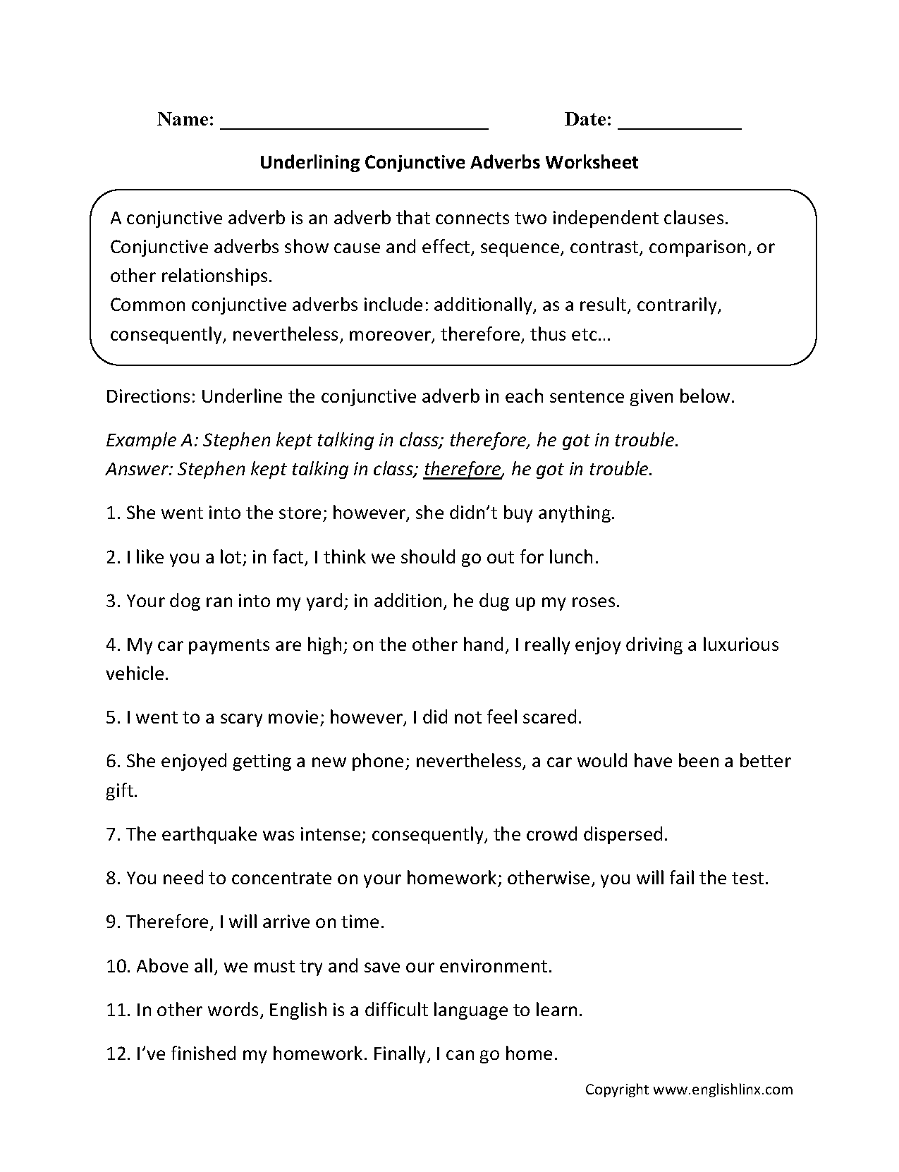 Conjunctions Worksheets | Underlining Conjunctive Adverbs Worksheet