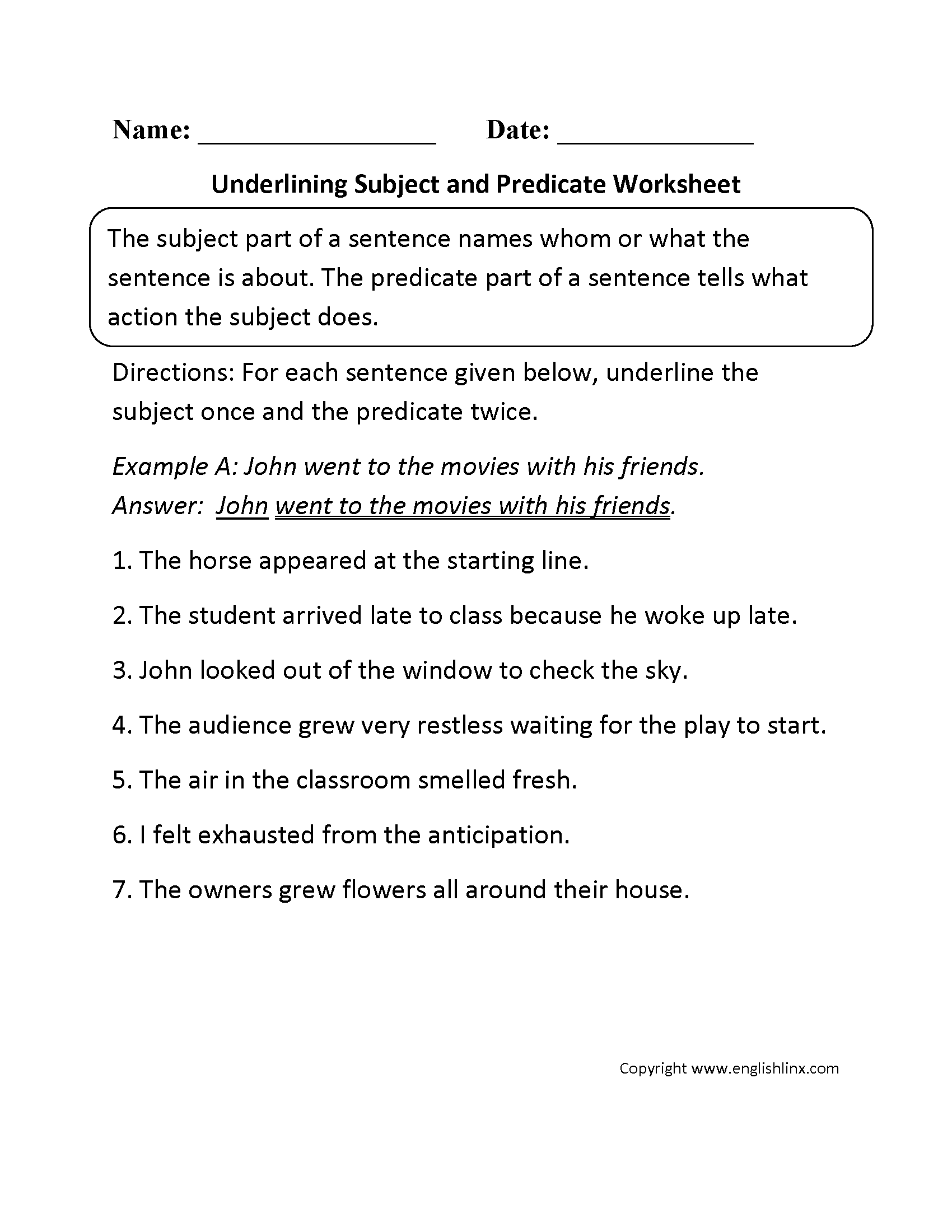 Printables 3rd Grade Subject And Predicate Worksheets parts of a sentence worksheets subject and predicate underlining or worksheet
