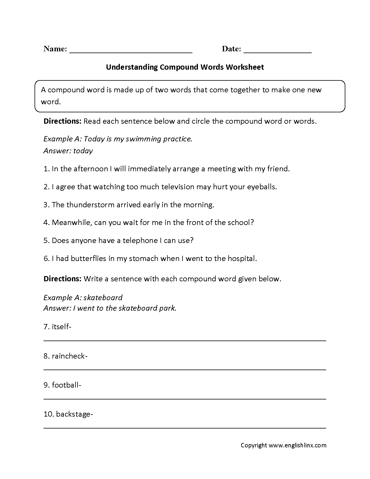 Hyphenated Compound Words Worksheets – Naming Binary Compounds Worksheet