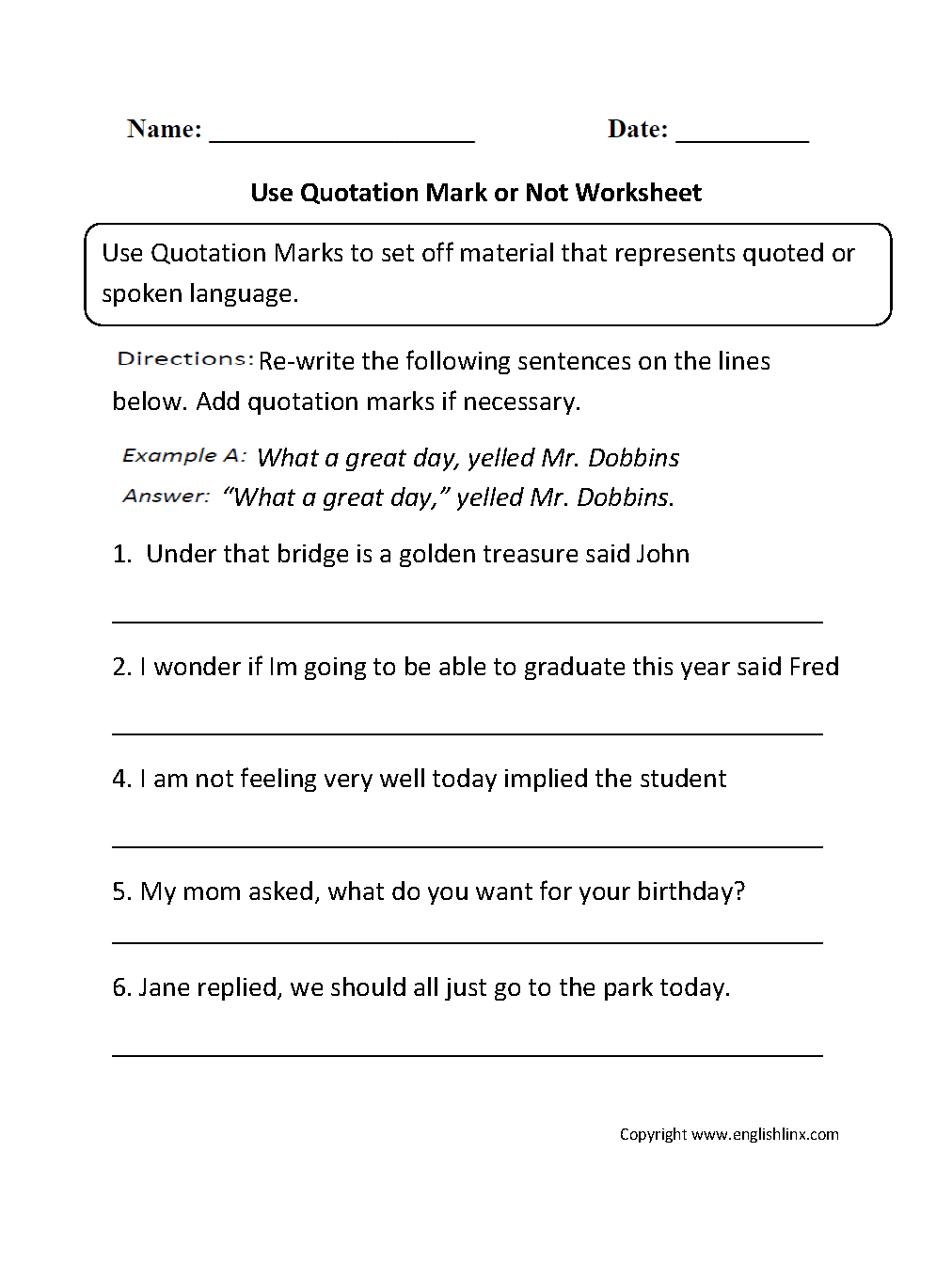 Punctuation Worksheets – Quotation Worksheet