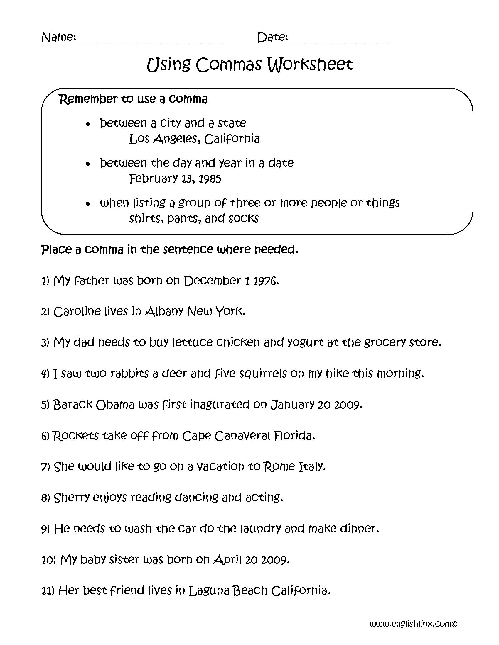 Englishlinx Com Commas Worksheets