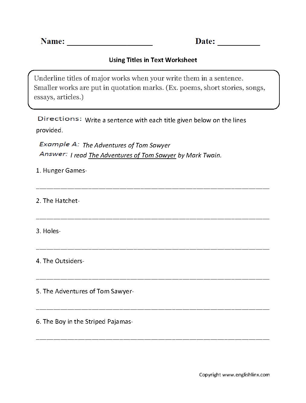 grammar mechanics worksheets italics and underlining worksheets. Black Bedroom Furniture Sets. Home Design Ideas
