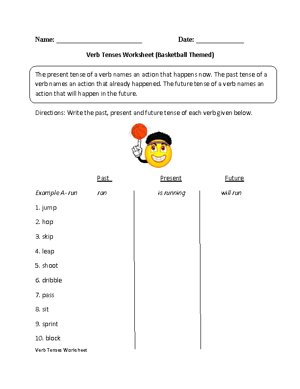 Verb Tenses Worksheets – Present Tense Verbs Worksheets