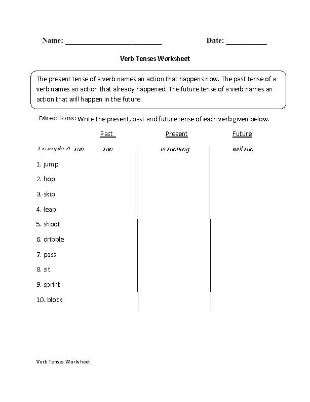 Printable Worksheets past tense worksheets ks2 : Verbs Worksheets | Verb Tenses Worksheets