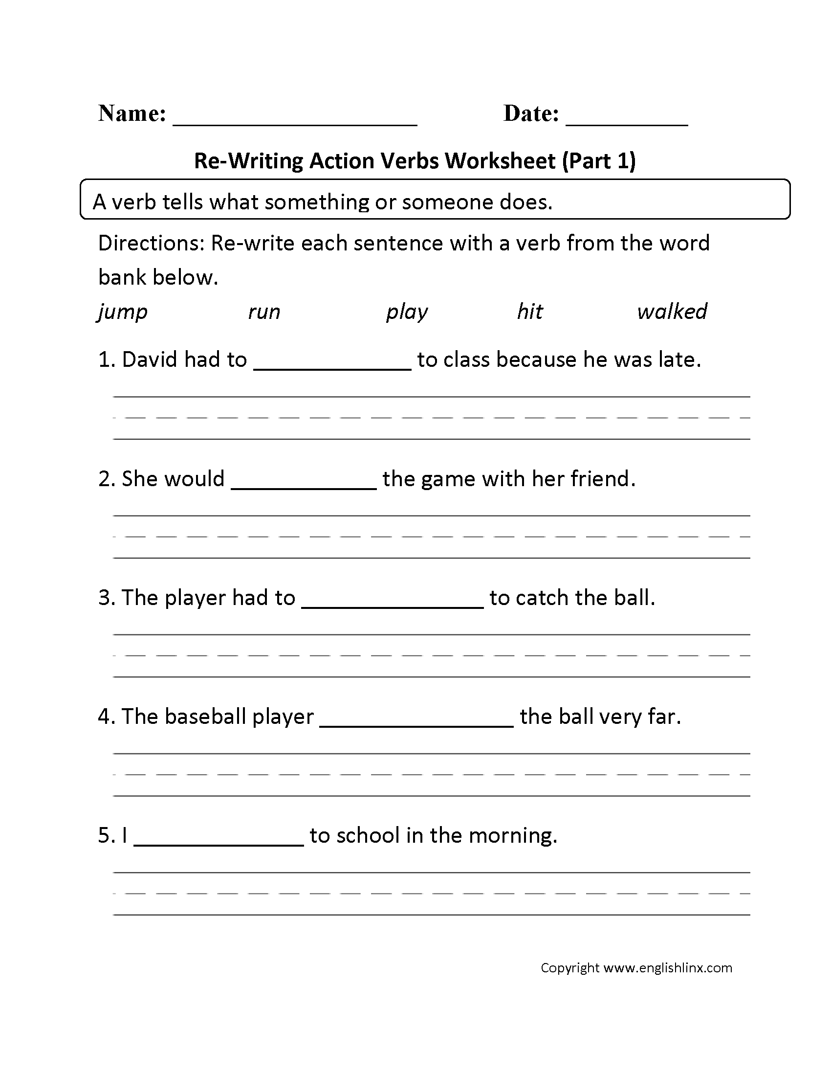 worksheet 8th Grade Writing Worksheets verbs worksheets action re writing worksheet