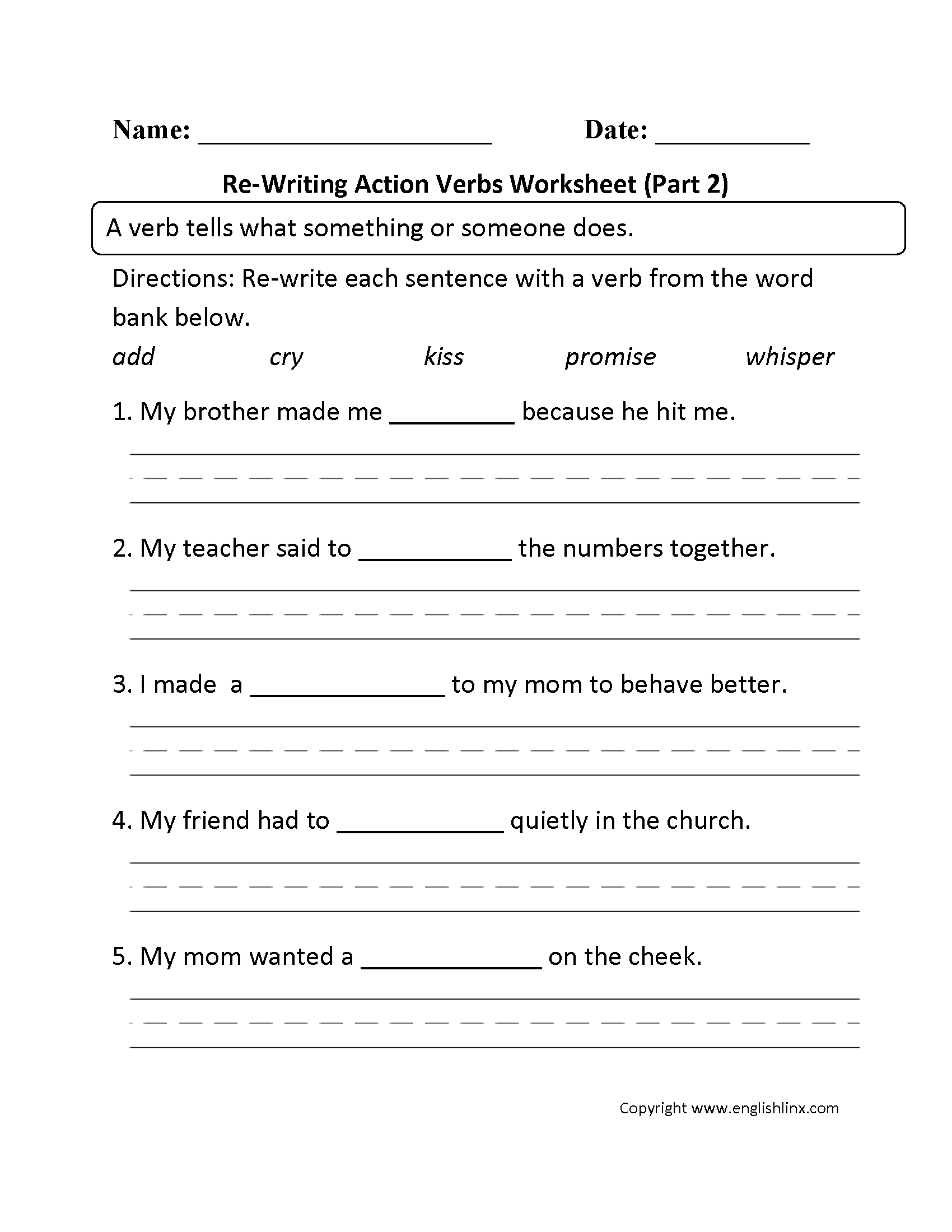 Worksheets English 2 Worksheets verbs worksheets action worksheet part 2