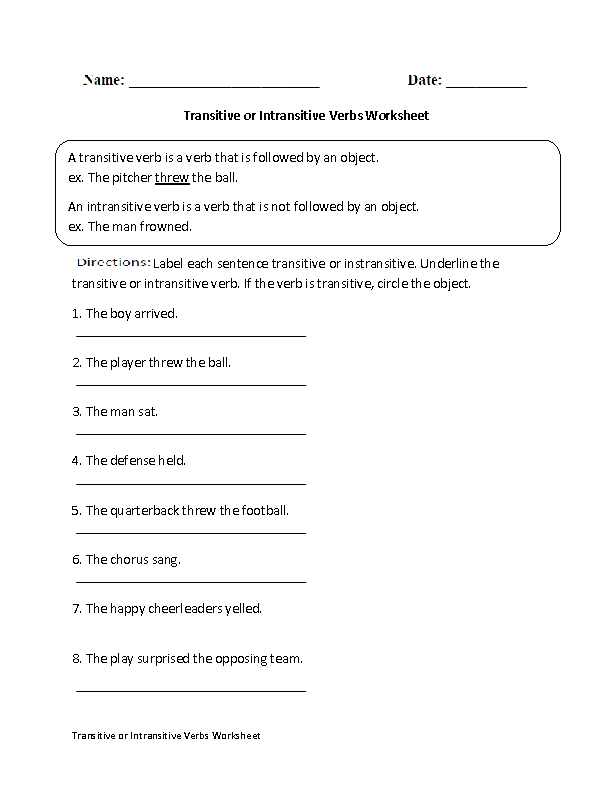 ... Verbs Worksheets | Transitive or Intransitive Action Verbs Worksheet