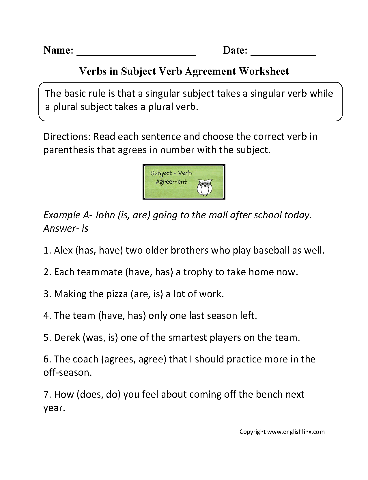 Word Usage Worksheets – Subject Verb Agreement Worksheet with Answers