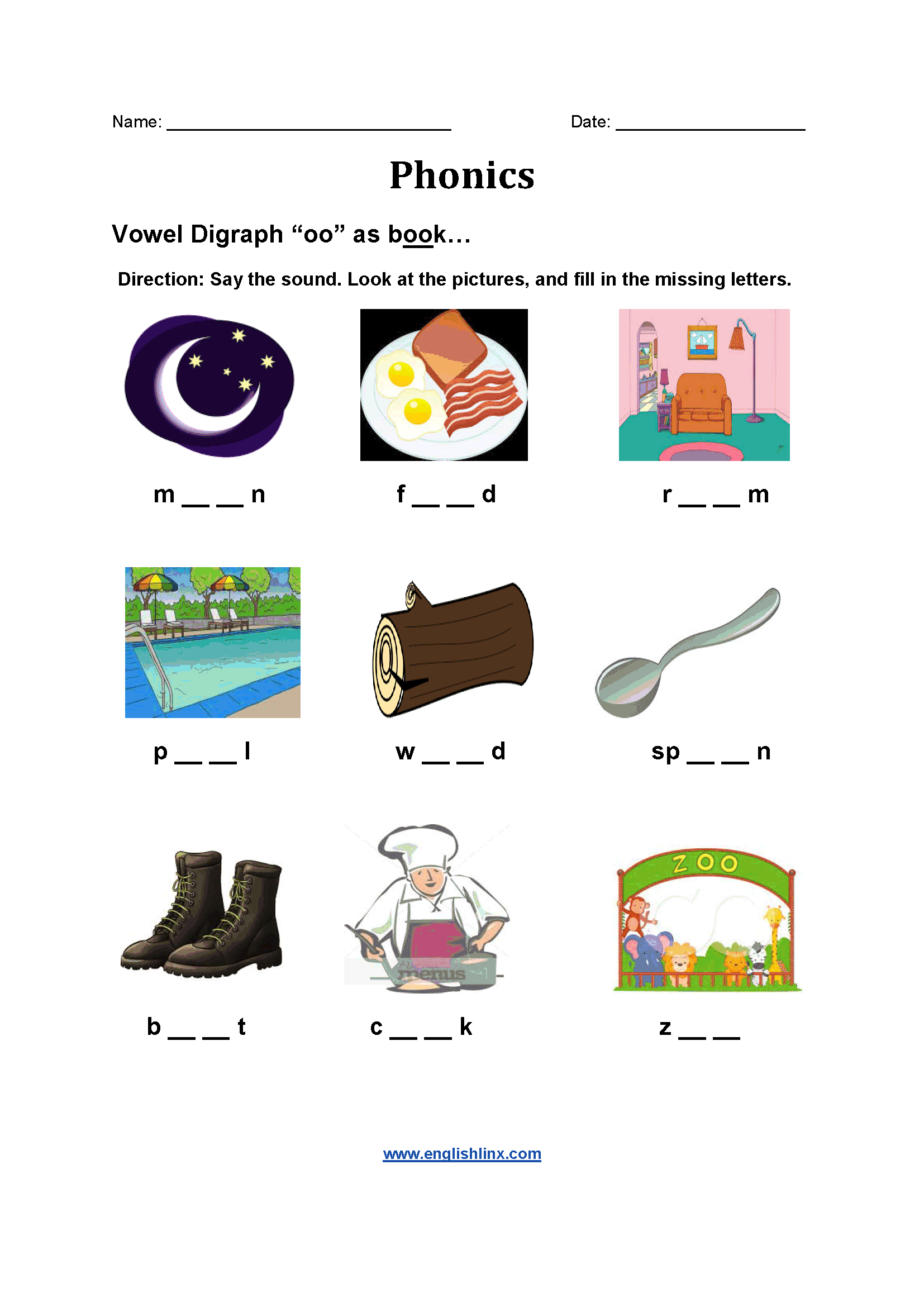 Vowel Diagraph OO Phonics Worksheets