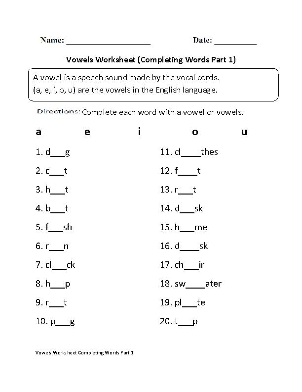 Englishlinx.com Vowels Worksheets