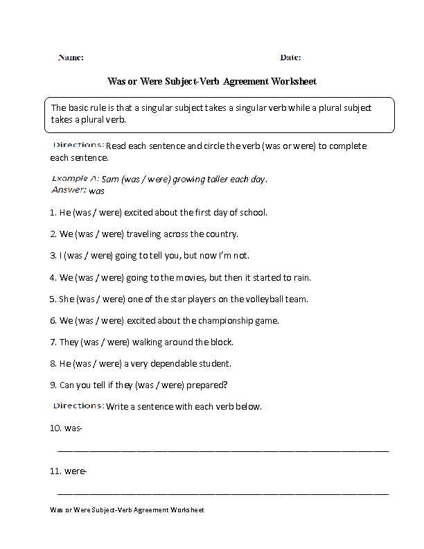 Subject Verb Agreement Worksheets | Was and Were Subject Verb ...