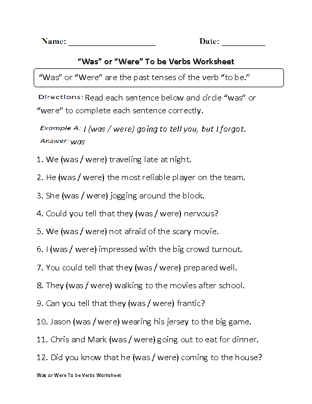 Printable Worksheets was and were worksheets for first grade : To Be Verbs Worksheets | Was or Were To be Verbs Worksheet