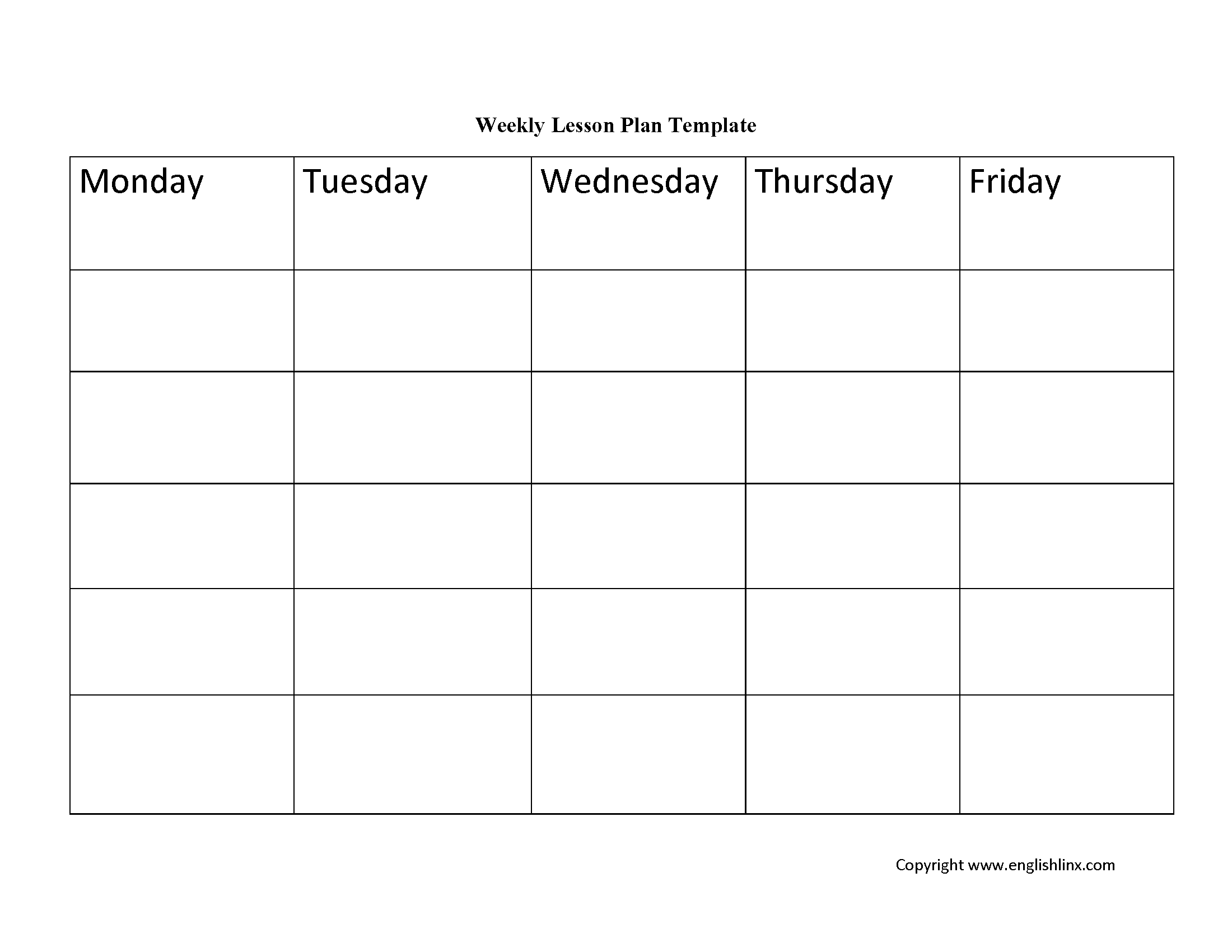 Englishlinxcom Lesson Plan Template - Free weekly lesson plan template