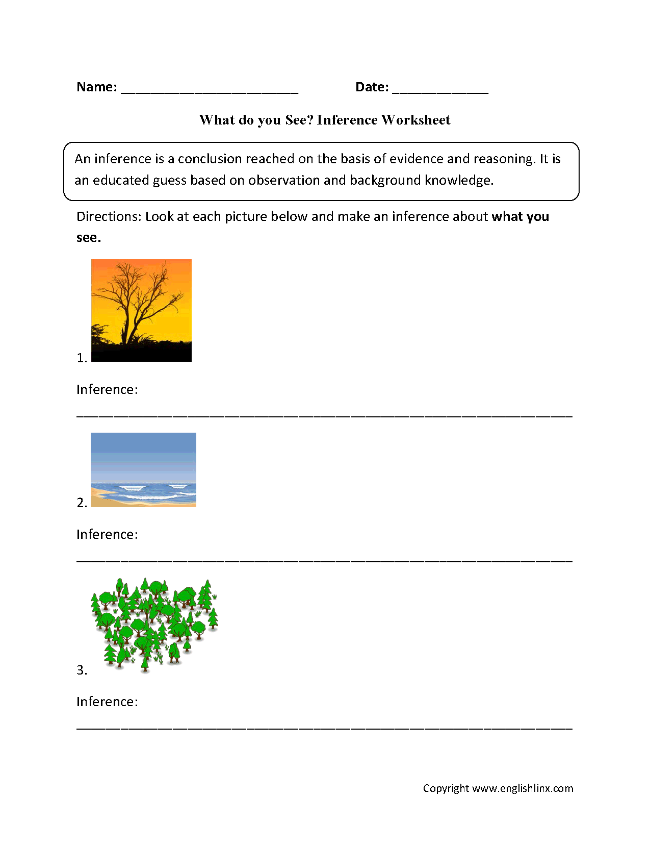 Reading Worksheets | Inference Worksheets
