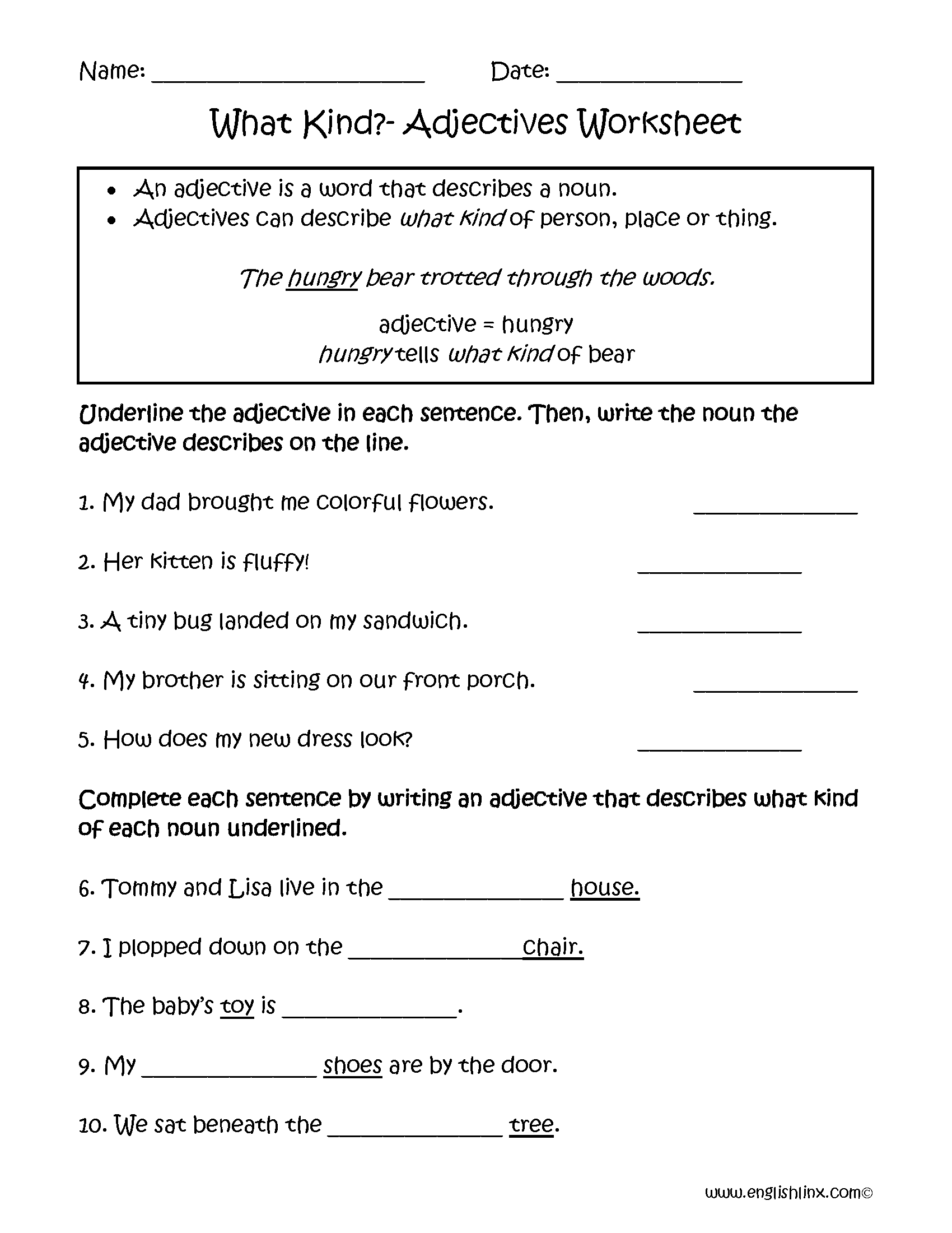 Underlining Adjectives Worksheet | Classroom ideas | Pinterest ...