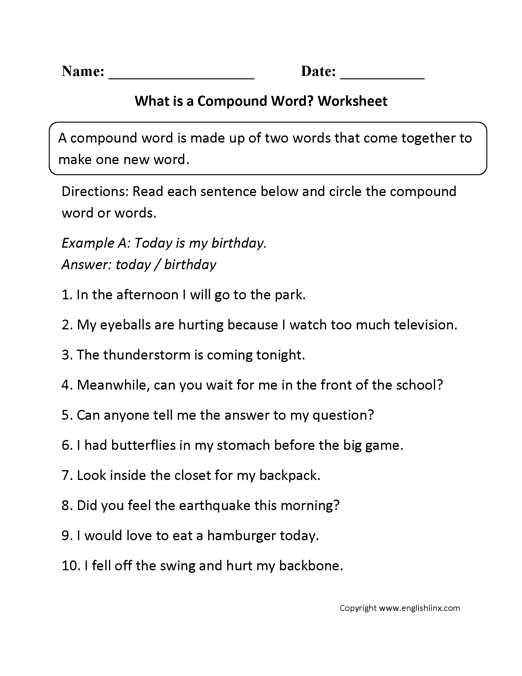 Worksheets Grammar Mechanics Worksheets grammar mechanics worksheets compound words worksheets