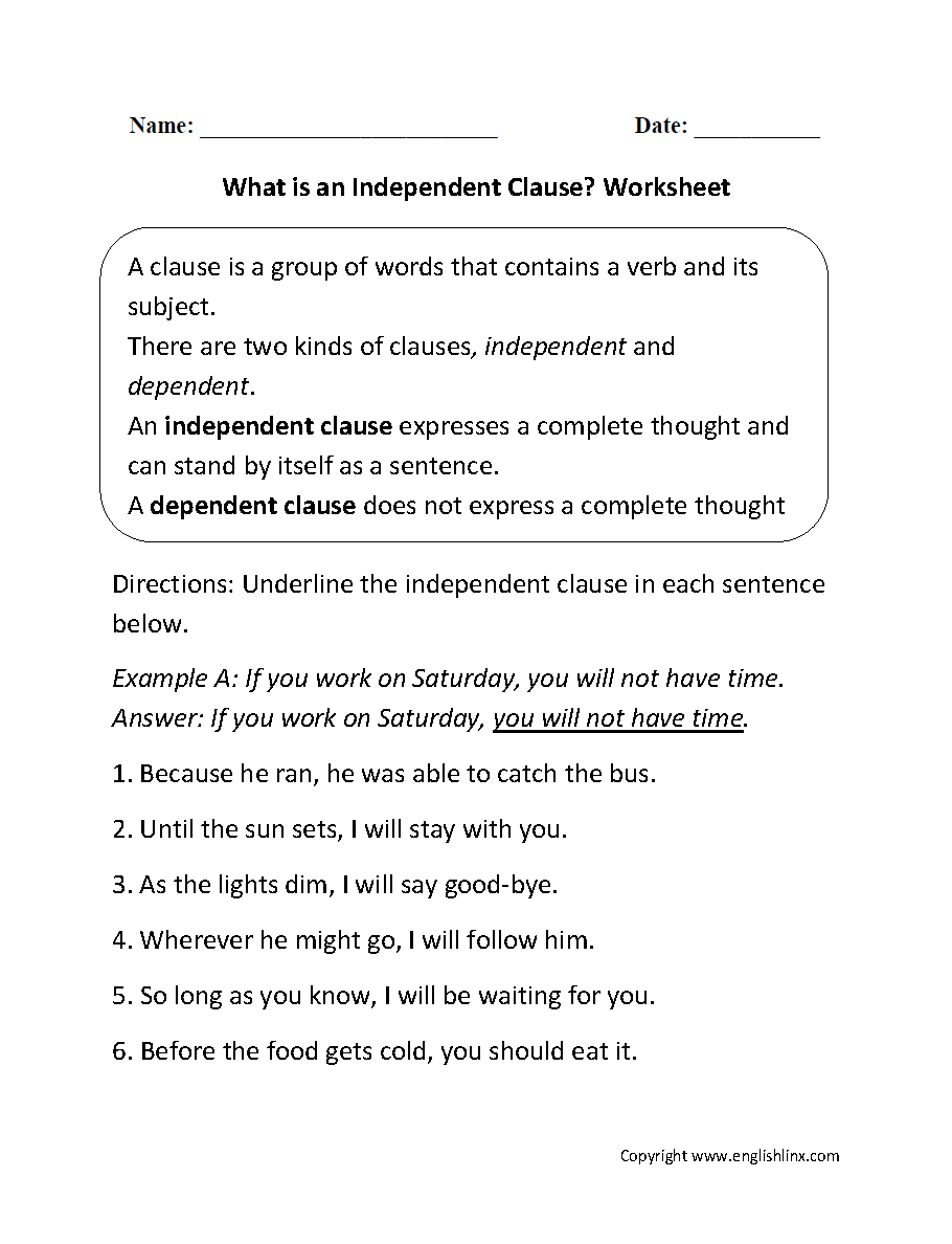 What is an Independent Clause? Worksheet