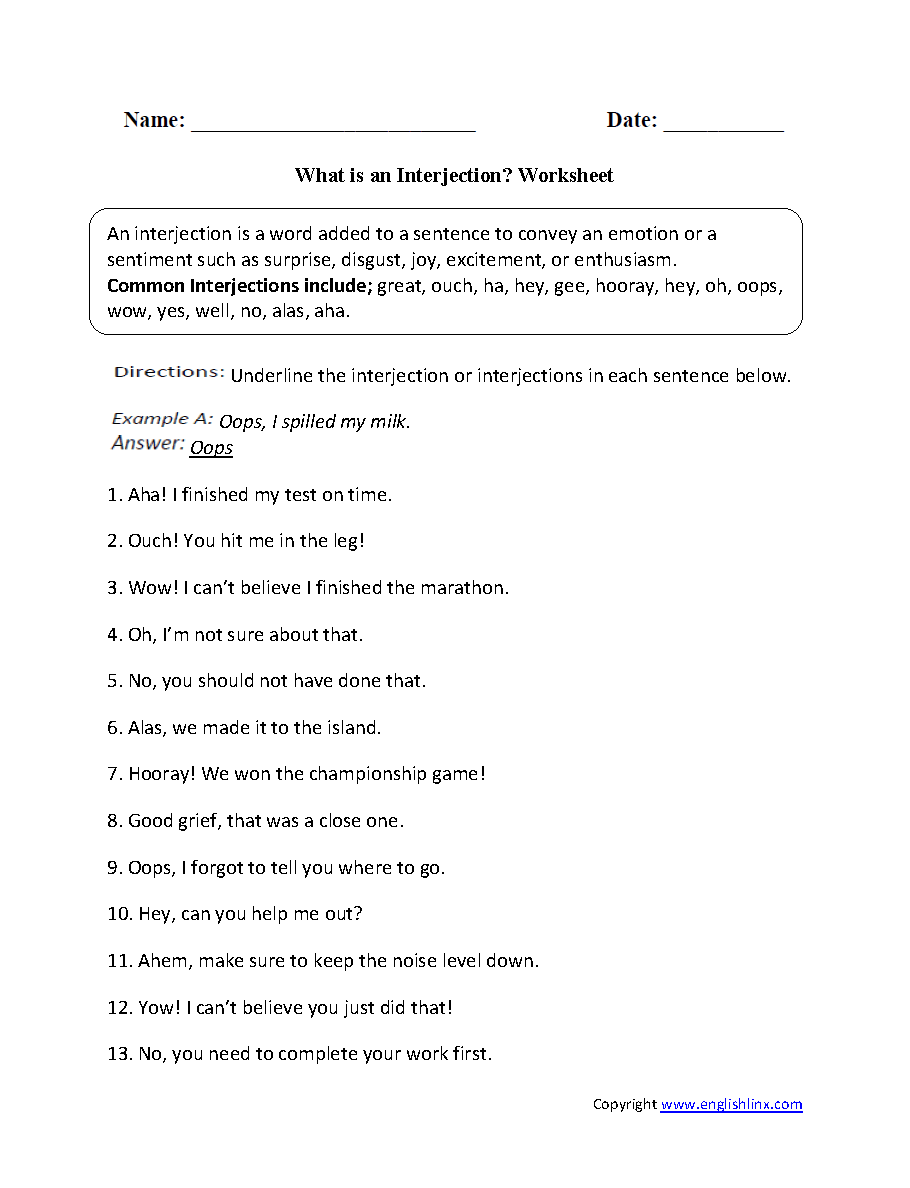 Workbooks worksheets on conjunctions for grade 8 : Englishlinx.com | Interjections Worksheets