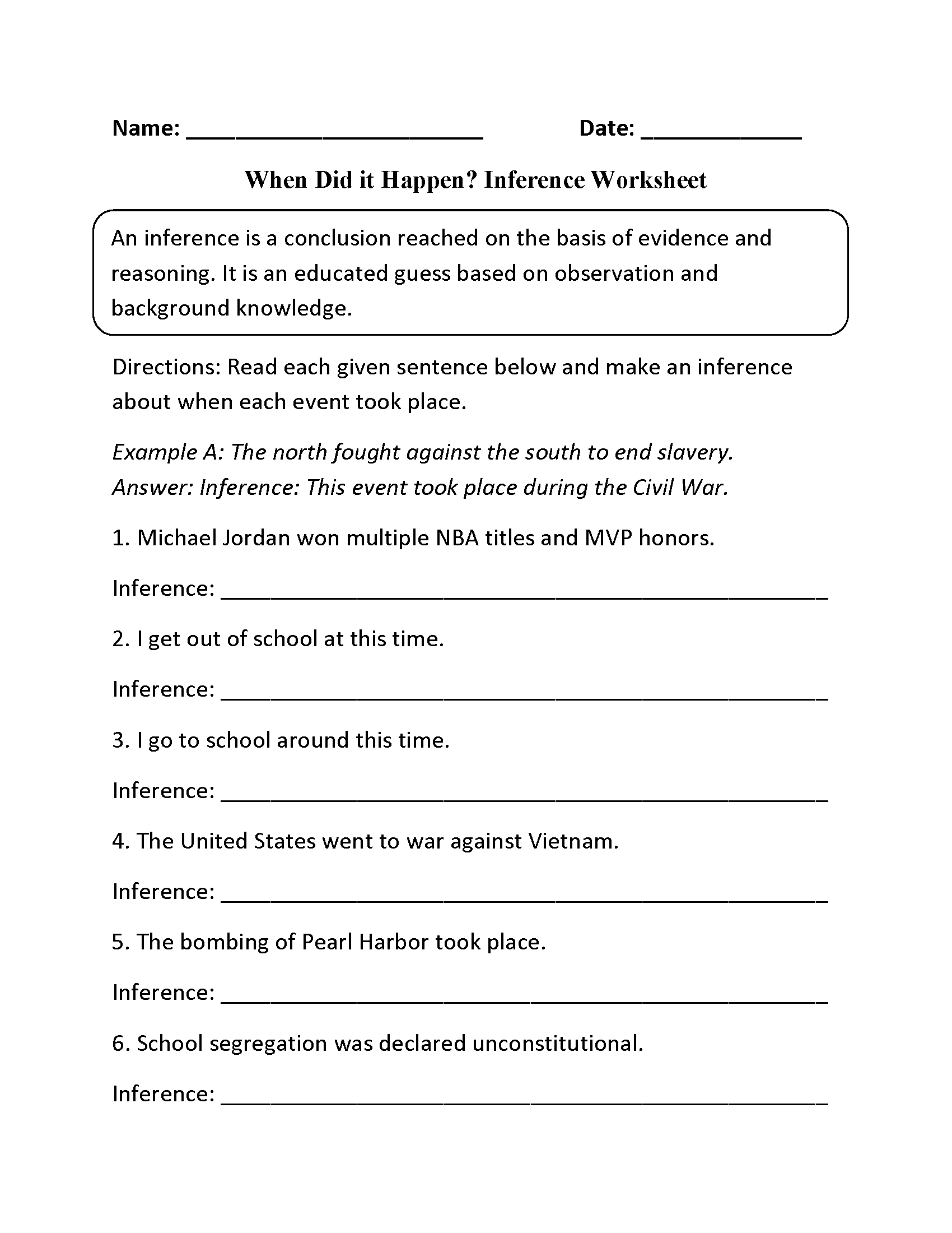 worksheet Inference Worksheets Middle School reading worksheets inference worksheets