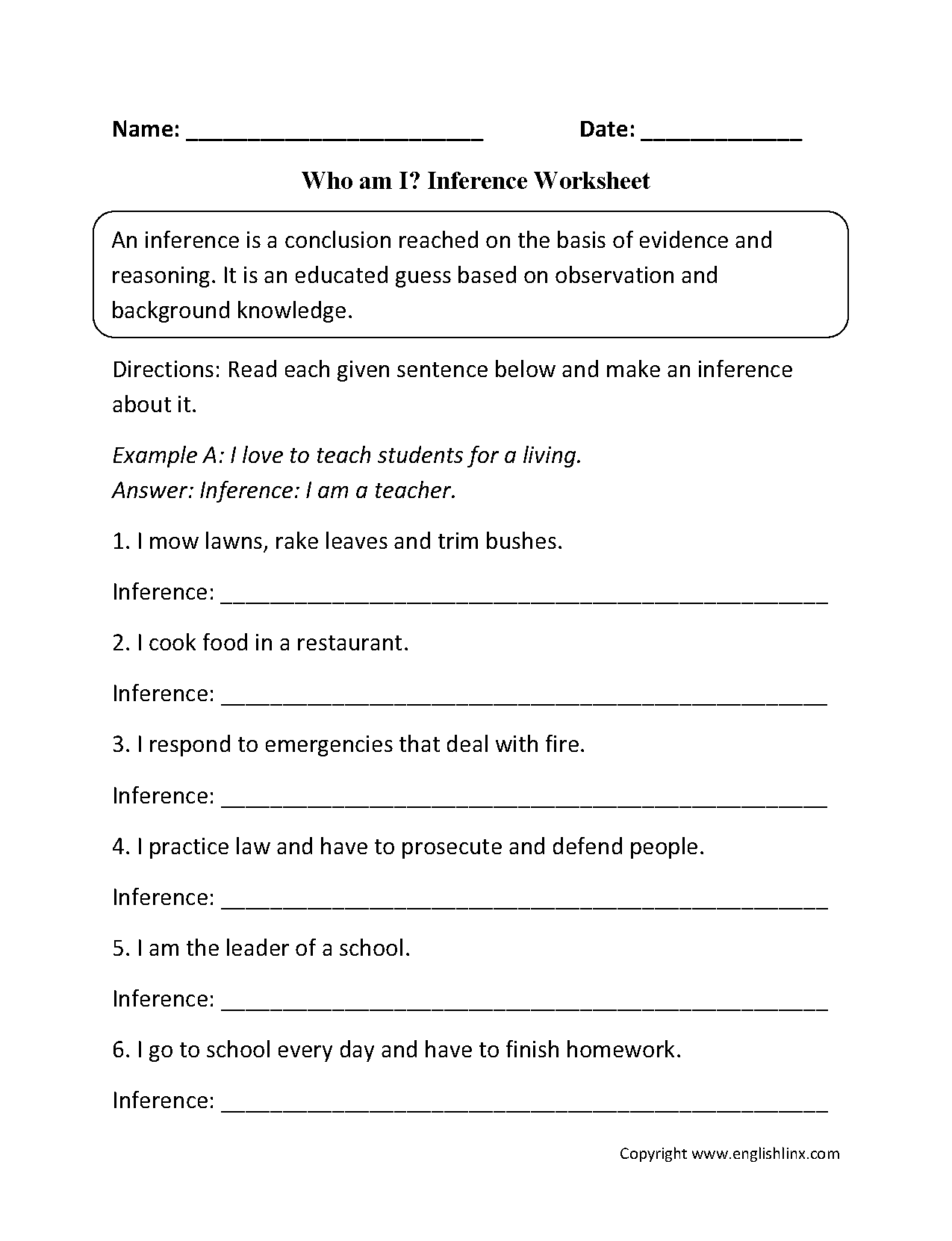 Inference Worksheets Who Am I Inference Worksheets