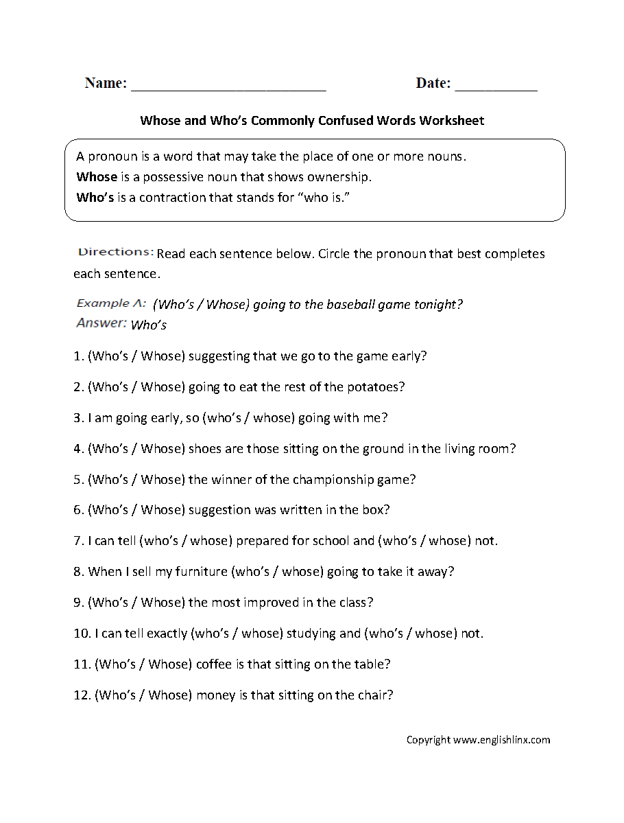 Free Worksheet Commonly Confused Words Worksheet commonly confused words worksheets whose and whos worksheets