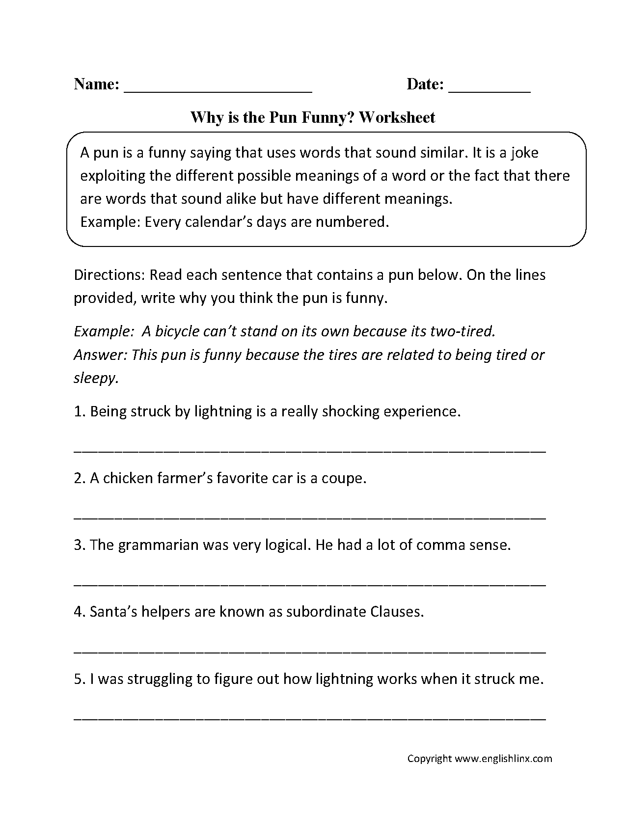 Figurative Language Worksheets – Pun Worksheet