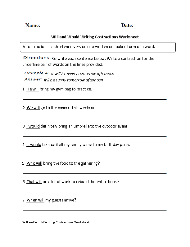 Will and Would Writing Contractions Worksheet