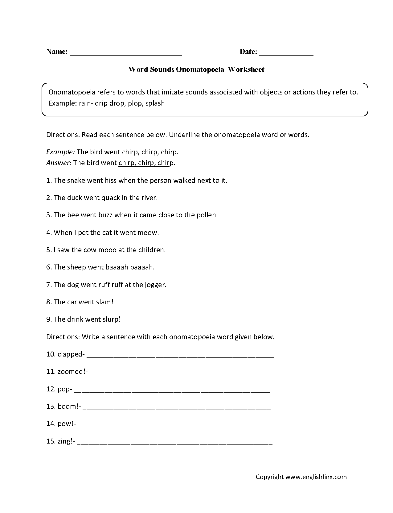 Worksheets Onomatopoeia Worksheet figurative language worksheets onomatopoeia worksheet